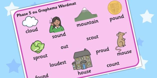 Phase 5 ou Grapheme Word Mat - phase five, graphemes, literacy