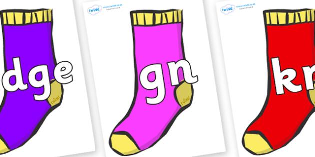 Silent Letters on Socks - Silent Letters, silent letter, letter blend, consonant, consonants, digraph, trigraph, A-Z letters, literacy, alphabet, letters, alternative sounds