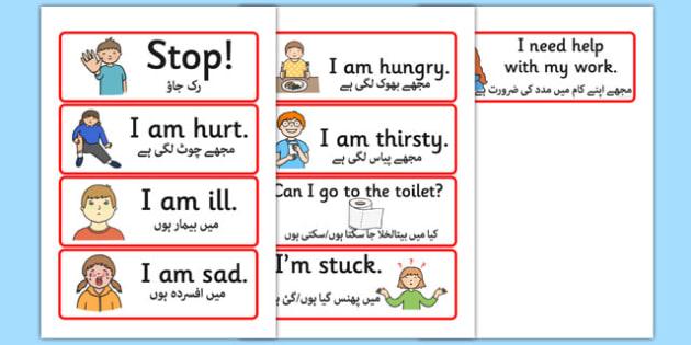 EAL Survival Vocabulary Urdu Translation - urdu, languages, foreign language, vocab