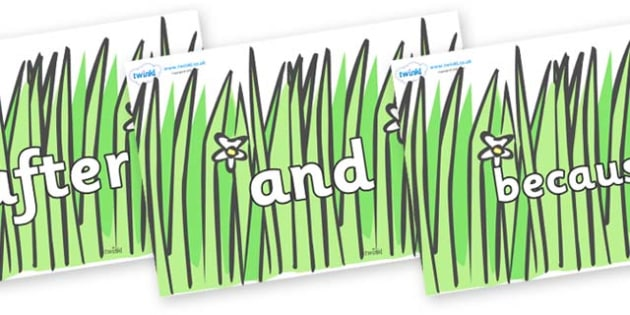 Connectives on Wavy Grass - Connectives, VCOP, connective resources, connectives display words, connective displays