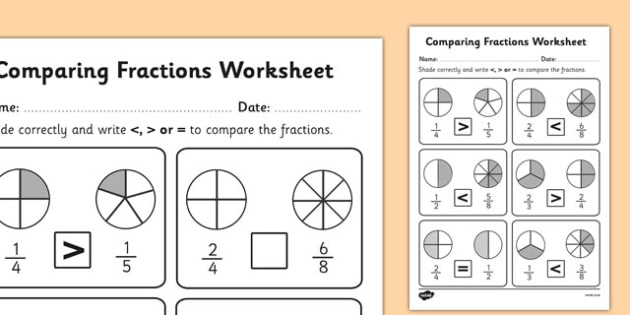 Comparing Fractions Worksheet - fractions, comparing fractions, fractions worksheets, work with fractions, greater than and less than, ks2 numeracy