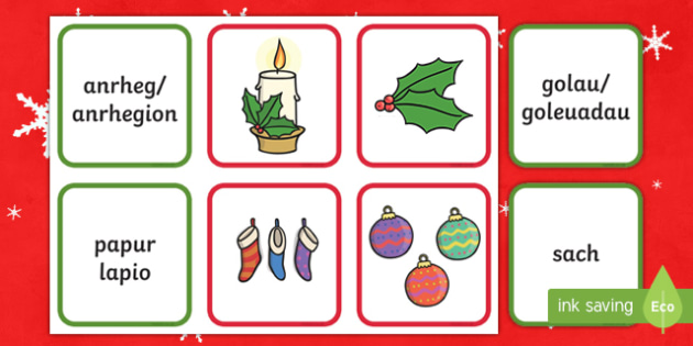 Welsh Second Language Christmas Decorations Matching Cards