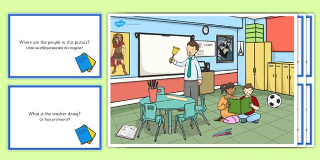 School Scene and Question Cards Romanian Translation - romanian, school, questions, comprehension pack