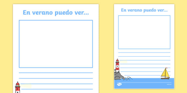 In the Summer I See Spanish Writing Activity Sheet, worksheet