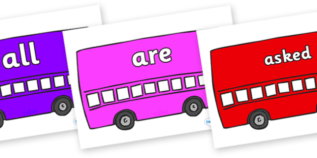 Tricky Words on Buses - Tricky words, DfES Letters and Sounds, Letters and sounds, display, words