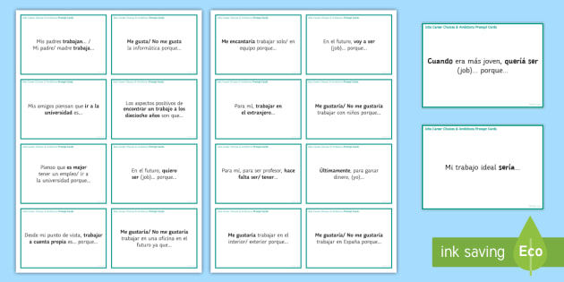 General Conversation Jobs Career Choices & Ambitions Question Prompt Cards - Spanish Speaking Practice, jobs, career choices, ambitions, future, prompt cards