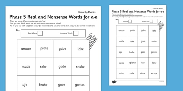 Phase 5 'a-e' Split Digraph Colour By Phoneme Real and Nonsense Words