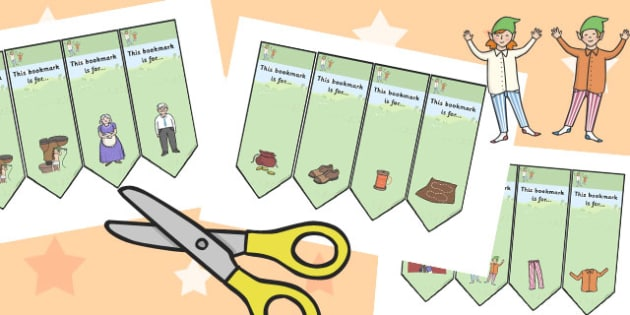 The Elves and the Shoemaker Editable Bookmarks - bookmarks, elves