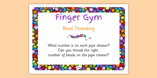 EYFS Bead Threading Finger Gym Children's Prompt Card - eyfs, bead
