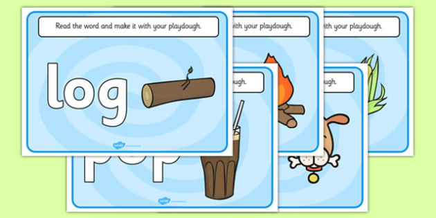CVC Word Playdough Mats (o) - CVC, CVC word, playdough mat, playdough, three phoneme words, three sound words, consonant vowel consonant, words, three letter words, letters and sounds, DfES letters and sounds