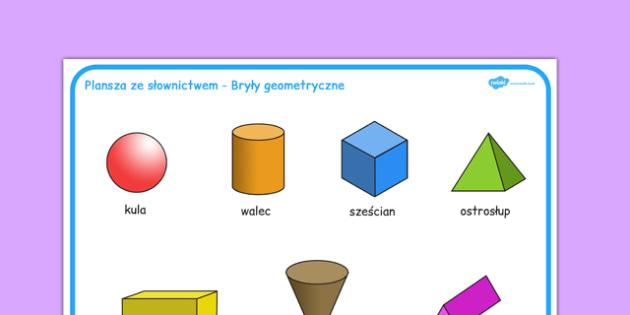 Plansza ze słownictwem Bryły obrotowe po polsku - geometria