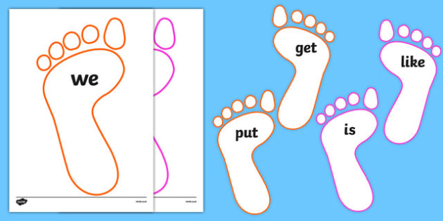 New Zealand Sight Words on Footprints Display Cut-Outs