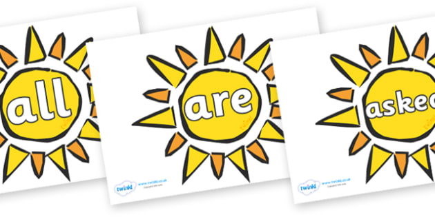 Tricky Words on The Sun - Tricky words, DfES Letters and Sounds, Letters and sounds, display, words