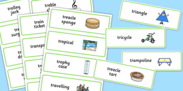 Three Syllable 'TR' Word Cards - tr sound, syllable, word cards, sound