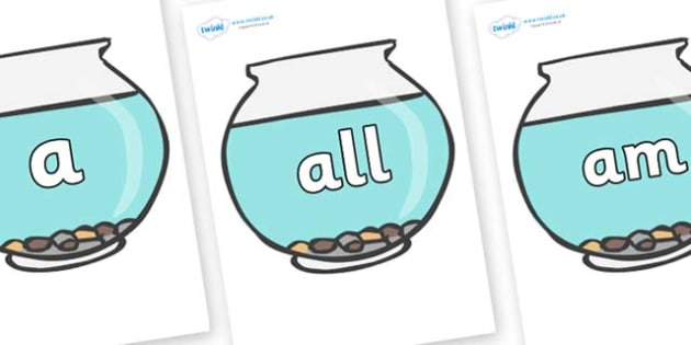 Foundation Stage 2 Keywords on Fish Bowls - FS2, CLL, keywords, Communication language and literacy,  Display, Key words, high frequency words, foundation stage literacy, DfES Letters and Sounds, Letters and Sounds, spelling