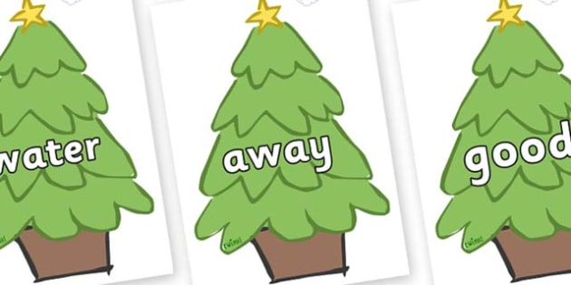 Next 200 Common Words on Christmas Trees (Plain) - Next 200 Common Words on  - DfES Letters and Sounds, Letters and Sounds, Letters and sounds words, Common words, 200 common words