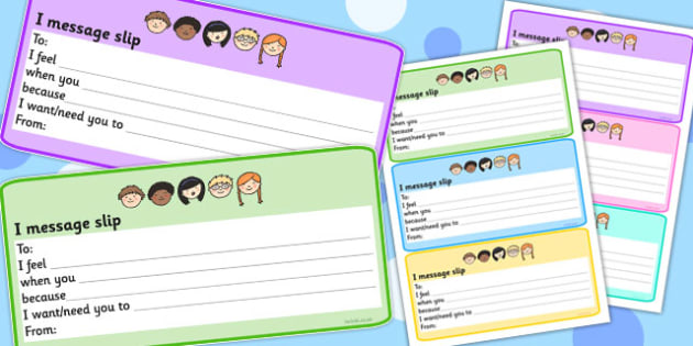 I Message Slips - messages, emotions, feelings, emotion, feeling