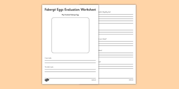 Fabergé Eggs Evaluation Activity Sheet - Faberge, egg, russia, tsar, evaluation
