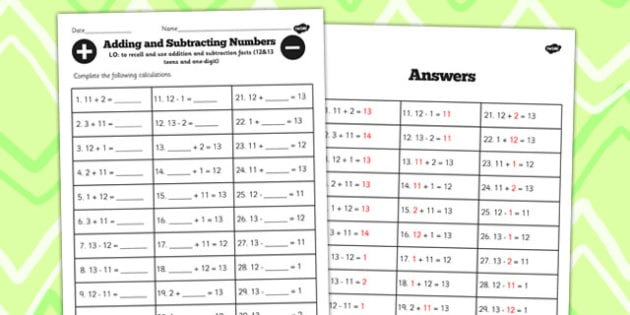 Number Facts to 12 and 13 Worksheet Teens Add One Digit - facts