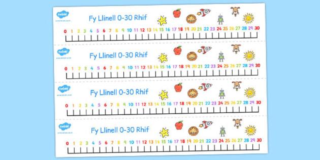 Welsh Number Line 0-30 - welsh, number, line, 0-30, numbers