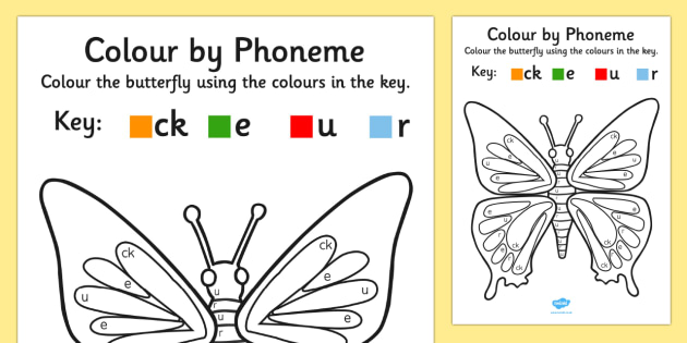 Colour by Phoneme Butterfly Phase 2 ck e u r - phoneme, phase 2