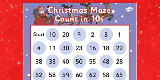 Christmas Maze Counting in 10s Activity Sheet - christmas, maze, christmas maze, coutning in 10s, counting game, christmas game, themed counting activity, counting activity, worksheet