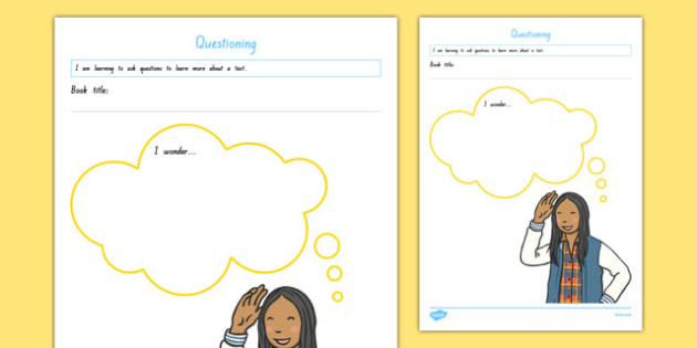 Questioning I wonder Activity Sheet, worksheet