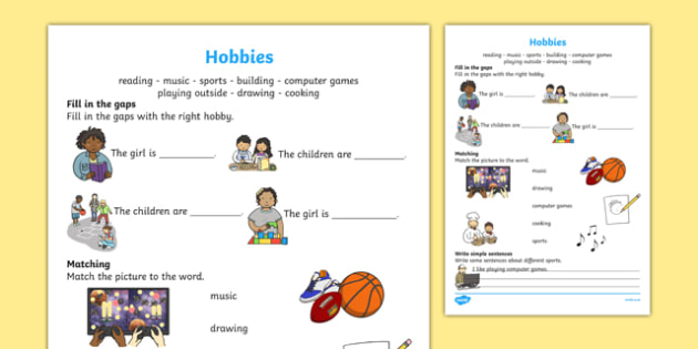 Hobbies Activity Sheet, worksheet