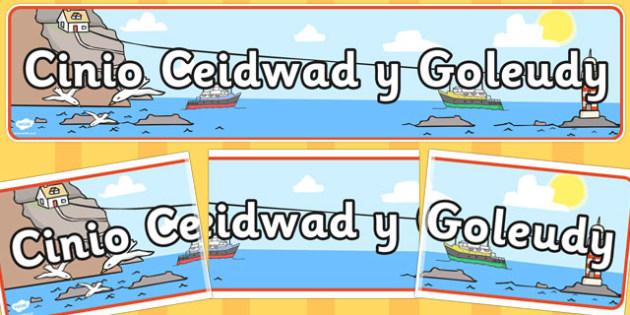 Baner 'Cinio Ceidwad y Goleudy' - display, welsh, cymraeg