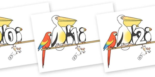 Numbers 0-100 on Pets on a Perch to Support Teaching on The Great Pet Sale - 0-100, foundation stage numeracy, Number recognition, Number flashcards, counting, number frieze, Display numbers, number posters
