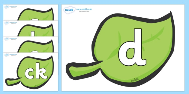 Phoneme Set on Green Leaves - Phoneme set, phonemes, phoneme, Letters and Sounds, DfES, display, Phase 1, Phase 2, Phase 3, Phase 5, Foundation, Literacy