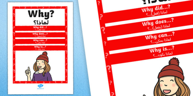 Why Question Poster Arabic Translation - posters, displays, display, questions, eal, mfl,