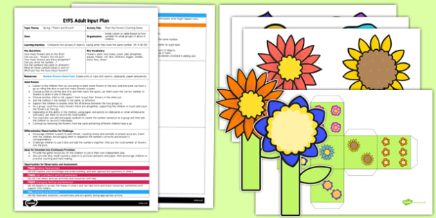 EYFS Plant the Flowers Counting Game Adult Input Plan and Resource Pack - EYFS, Early Years planning, adult led, spring, Maths, growth