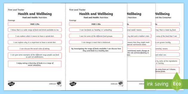 CfE Health and Wellbeing (Food and Health) First Level Child Friendly Tracking-Scottish
