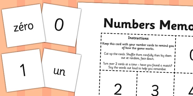 French Numbers 0-10 Memory Match Game - french, memory, game