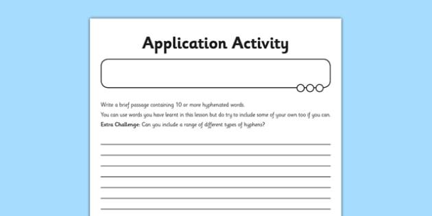 Hyphens Application Activity Sheet - GPS, avoiding ambiguity, punctuation, worksheet