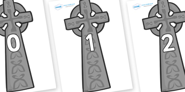 Numbers 0-50 on Celtic Cross - 0-50, foundation stage numeracy, Number recognition, Number flashcards, counting, number frieze, Display numbers, number posters
