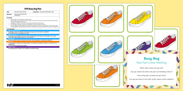 EYFS Shoe Pairs Colour Matching Busy Bag Plan and Resource Pack - The Elves and the Shoemaker, traditional tales, Christmas, colours, pairs, rainbow, spectrum, shoes,