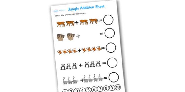Jungle Addition Sheet - addition sheet, jungle themed addition sheet, jungle themed, jungle addition sheet, themed addition, jungle addition