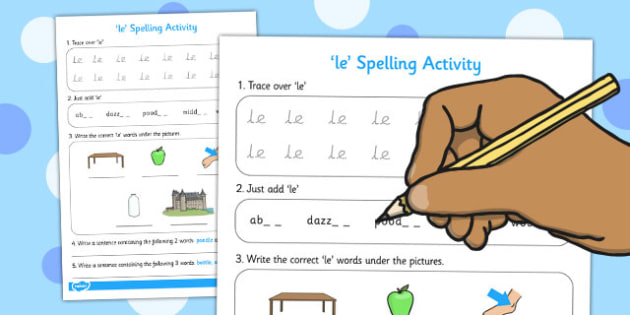 le Spelling Activity - spell, activity, le, spelling activity