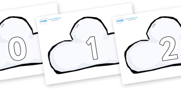 Numbers 0-31 on Weather Symbols (Cloud) - 0-31, foundation stage numeracy, Number recognition, Number flashcards, counting, number frieze, Display numbers, number posters