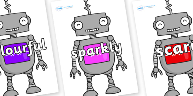 Wow Words on Robots - Wow words, adjectives, VCOP, describing, Wow, display, poster, wow display, tasty, scary, ugly, beautiful, colourful sharp, bouncy