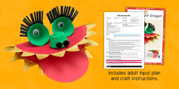 Paper Plate Dragon Craft EYFS Adult Input Plan and Resource Pack - lesson plan, paper plate, dragon, craft