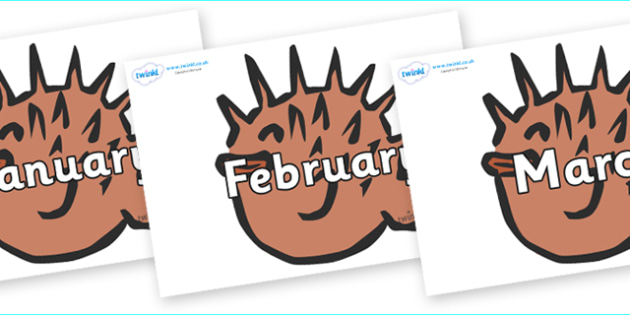 Months of the Year on Puffer Fish - Months of the Year, Months poster, Months display, display, poster, frieze, Months, month, January, February, March, April, May, June, July, August, September