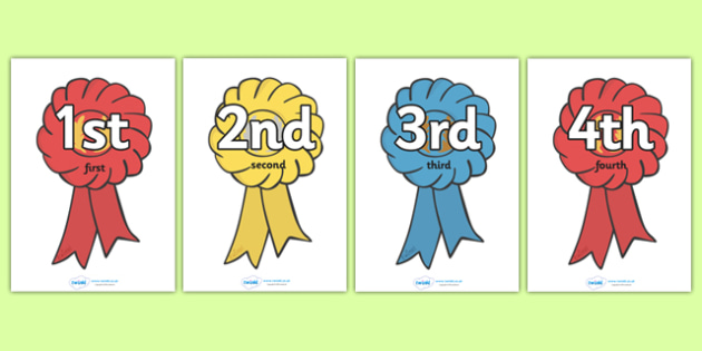 Ordinal Number Posters (Rosettes) - Display posters, counting, 1st, 2nd, 3rd, first, second, third, foundation stage numeracy, ordinal, numeracy, rosettes