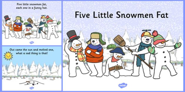 Five Little Snowmen Fat Nursery Rhyme PowerPoint - powerpoints