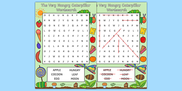 Word Search to Support Teaching on The Very Hungry Caterpillar - the very hungry caterpillar, wordsearch, word games, themed wordsearch, themed games, literacy, english