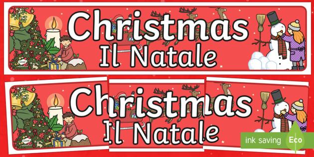 Christmas Display Banner Italian Translation English/Italian - Christmas Display Banner - christmas, display banner, display, banner, banner for display, classroom