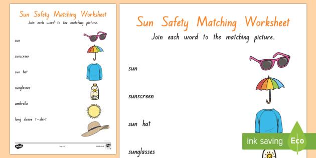 Sun Safety Matching activity