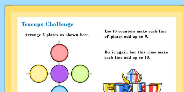 A4 KS1 Teacups Maths Challenge Poster - teacups, Maths, Poster
